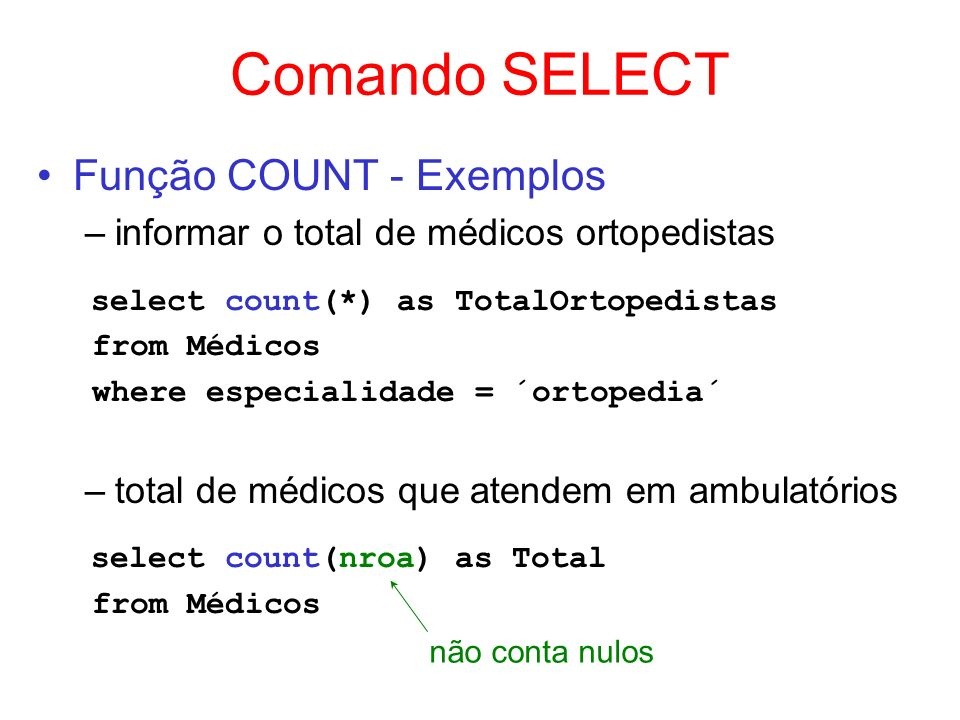 Comando SELECT Função SUM - Exemplo –informar a capacidade total dos ambulatórios do primeiro andar select sum(capacidade) as TotalAndar1 from Ambulatórios where andar = 1
