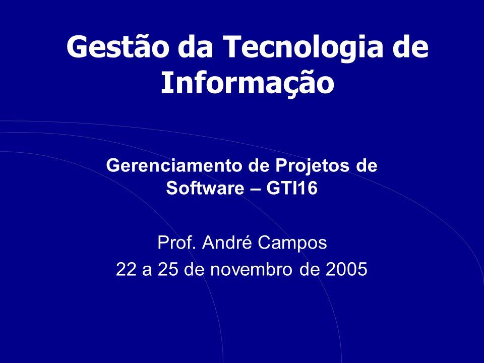 Gestão da Tecnologia de Informação Gerenciamento de Projetos de Software – GTI16 Prof.