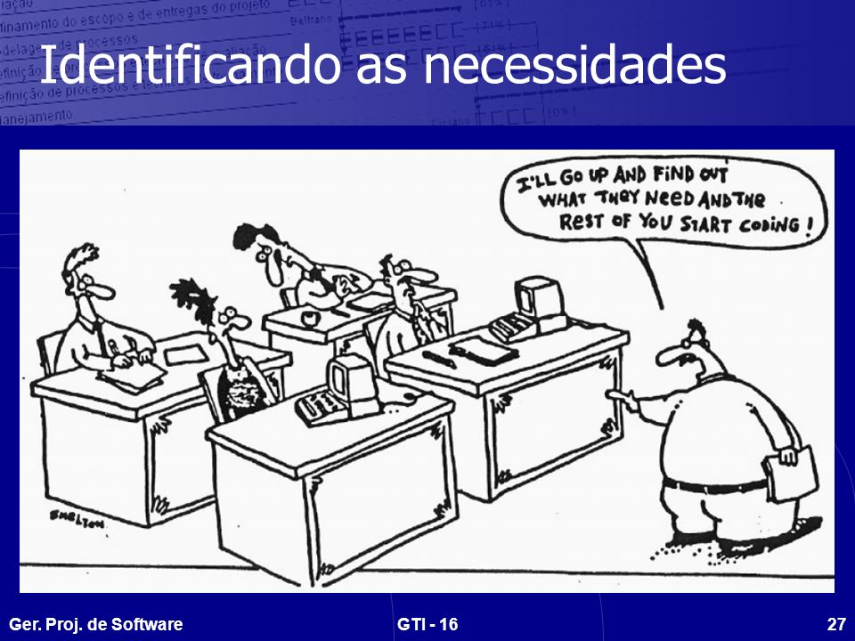Ger. Proj. de SoftwareGTI - 1627 Identificando as necessidades