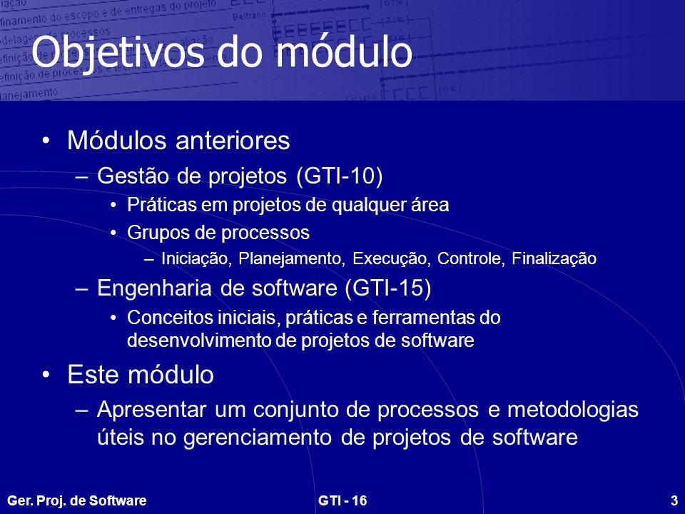 Ger.Proj. de SoftwareGTI - 164 Agenda do curso Aula 1 – Conceitos iniciais –Proj.