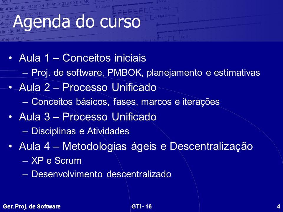 Ger. Proj. de SoftwareGTI - 164 Agenda do curso Aula 1 – Conceitos iniciais –Proj.