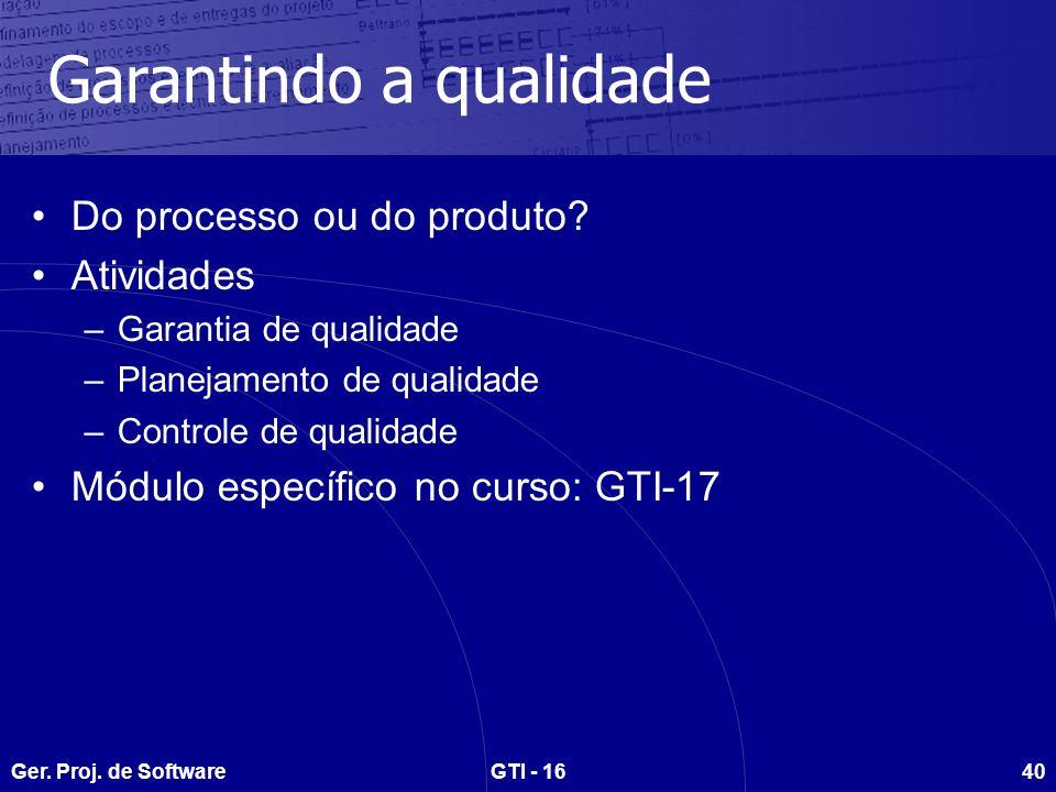 Ger. Proj. de SoftwareGTI - 1640 Garantindo a qualidade Do processo ou do produto.