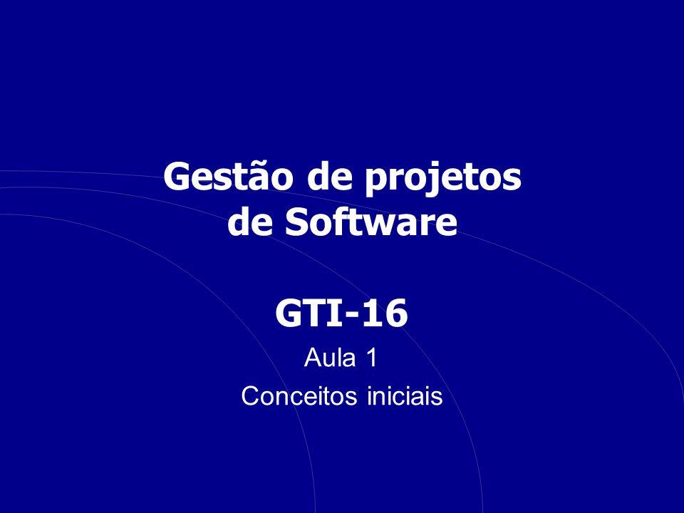 Gestão de projetos de Software GTI-16 Aula 1 Conceitos iniciais