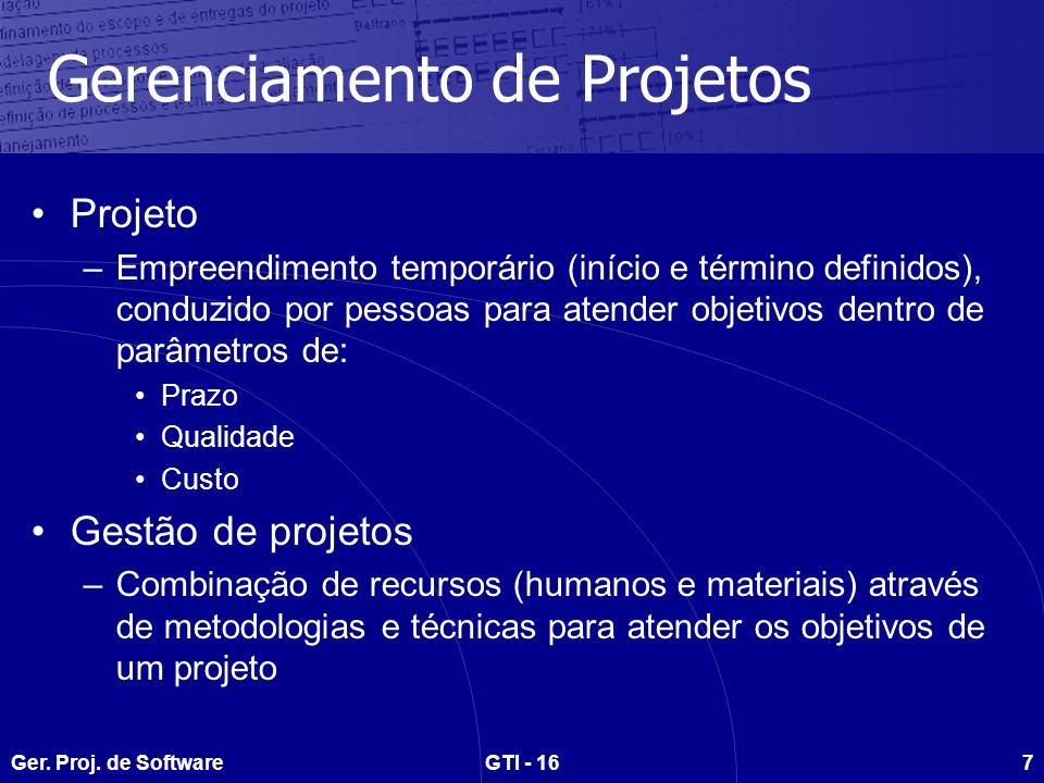 Ger.Proj. de SoftwareGTI - 168 Como gerenciar.
