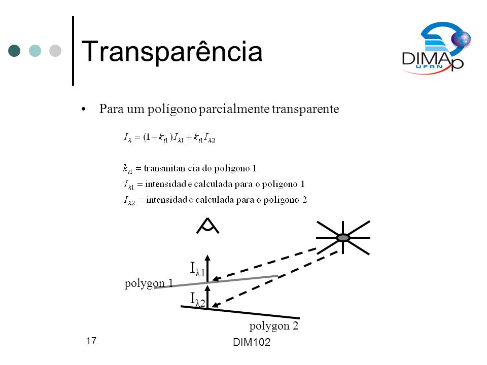 DIM102 18 Transparência Modela-se o desvio da luz em interfaces de materiais usando-se a lei de Snell medium 1 medium 2