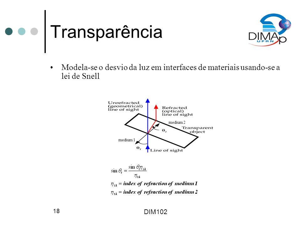 DIM102 19 Raytracing Recursivo Trace raios secundários nas interseções: –Luz: trace raio para cada fonte de luz.