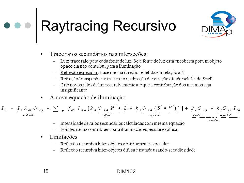 DIM102 20 Raytracing Recursivo Iluminação indireta