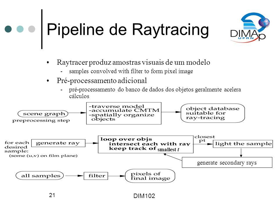DIM102 22 Exemplos de Raytracing Raytracer gratuito disponível online: www.povray.org Imagens produzidas usando-se raytracing: www.irtc.org