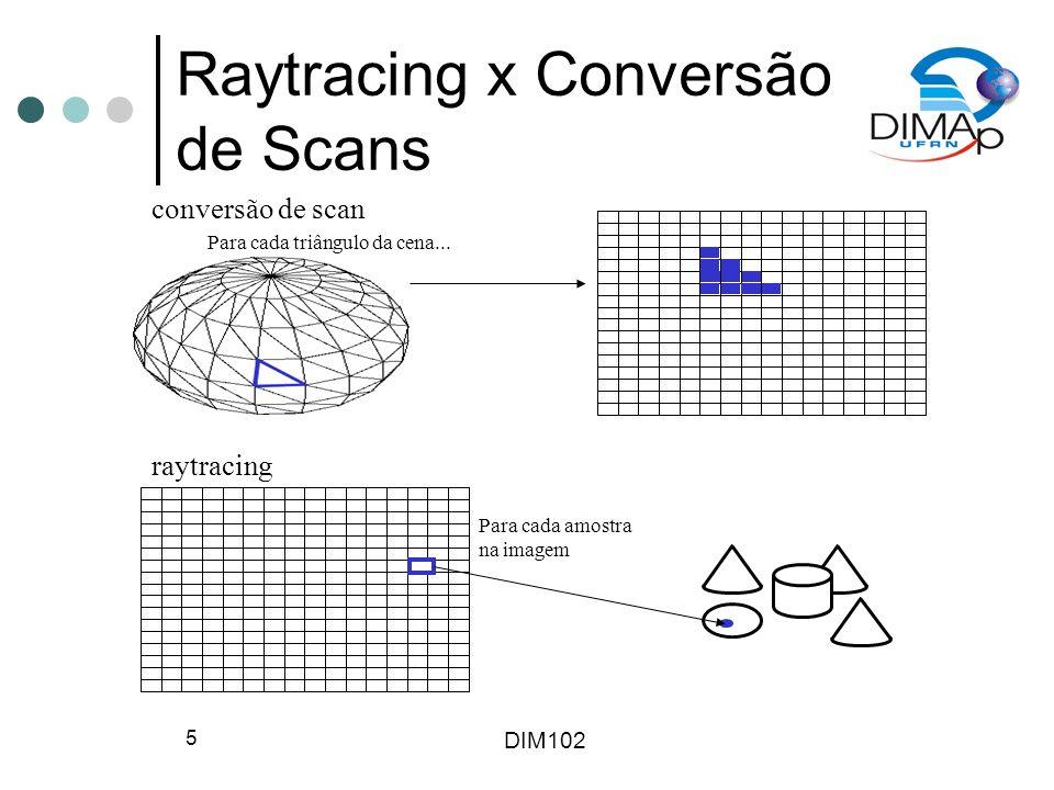 DIM102 6 Raytracing x Conversão de Scans Conversão de scans: Para cada objeto da cena para cada triângulo ou quadrilátero do objeto passe geometria do vértice e cores para OpenGL, que pintará todos os pontos interiores do triângulo no framebuffer Rápido, mas restrito ao modelo de iluminação do OpenGL e uso de triângulos e quadriláteros Raytracing: Para cada amostra na imagem determine qual objeto na cena é atingido primeiro pelo raio naquela amostra pinte aquela amostra com a cor do objeto naquele ponto