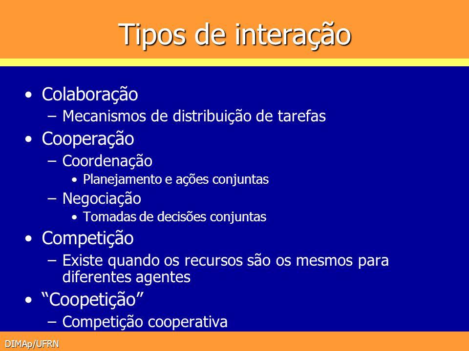 DIMAp/UFRN Tipos de interação Colaboração –Mecanismos de distribuição de tarefas Cooperação –Coordenação Planejamento e ações conjuntas –Negociação To