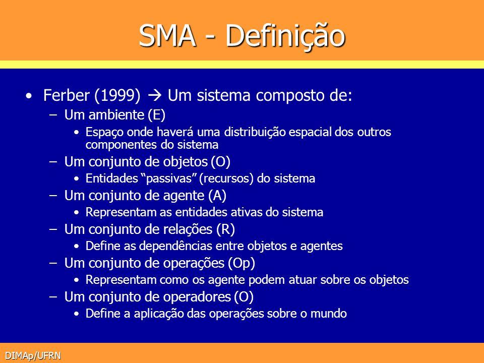 DIMAp/UFRN SMA - Definição Ferber (1999) Um sistema composto de: –Um ambiente (E) Espaço onde haverá uma distribuição espacial dos outros componentes