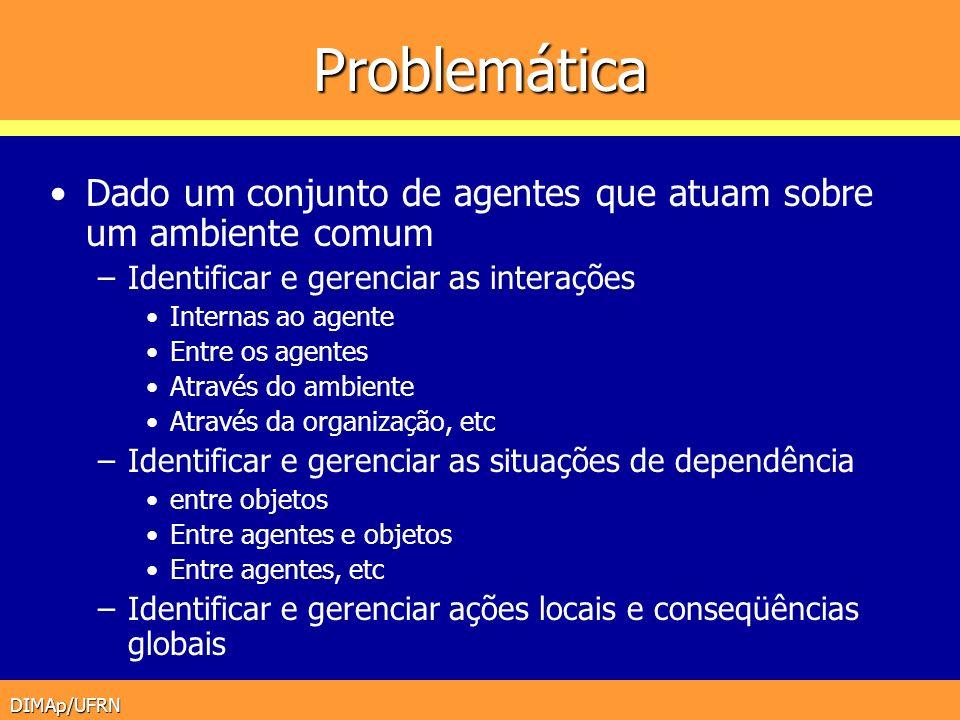 DIMAp/UFRN Problemática Dado um conjunto de agentes que atuam sobre um ambiente comum –Identificar e gerenciar as interações Internas ao agente Entre