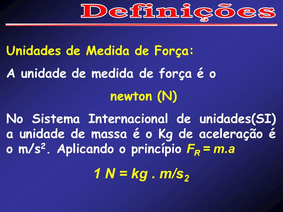 Unidades de Medida de Força: A unidade de medida de força é o newton (N) No Sistema Internacional de unidades(SI) a unidade de massa é o Kg de acelera