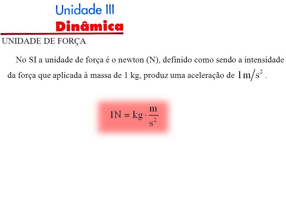 UNIDADE DE FORÇA No SI a unidade de força é o newton (N), definido como sendo a intensidade da força que aplicada à massa de 1 kg, produz uma aceleraç