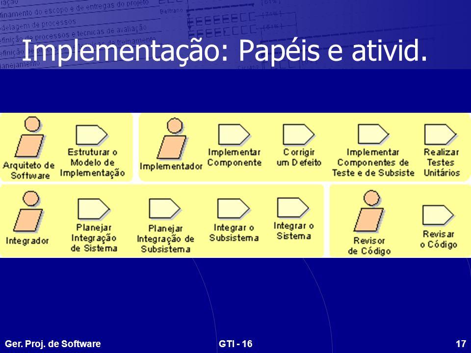 Ger. Proj. de SoftwareGTI - 1617 Implementação: Papéis e ativid.