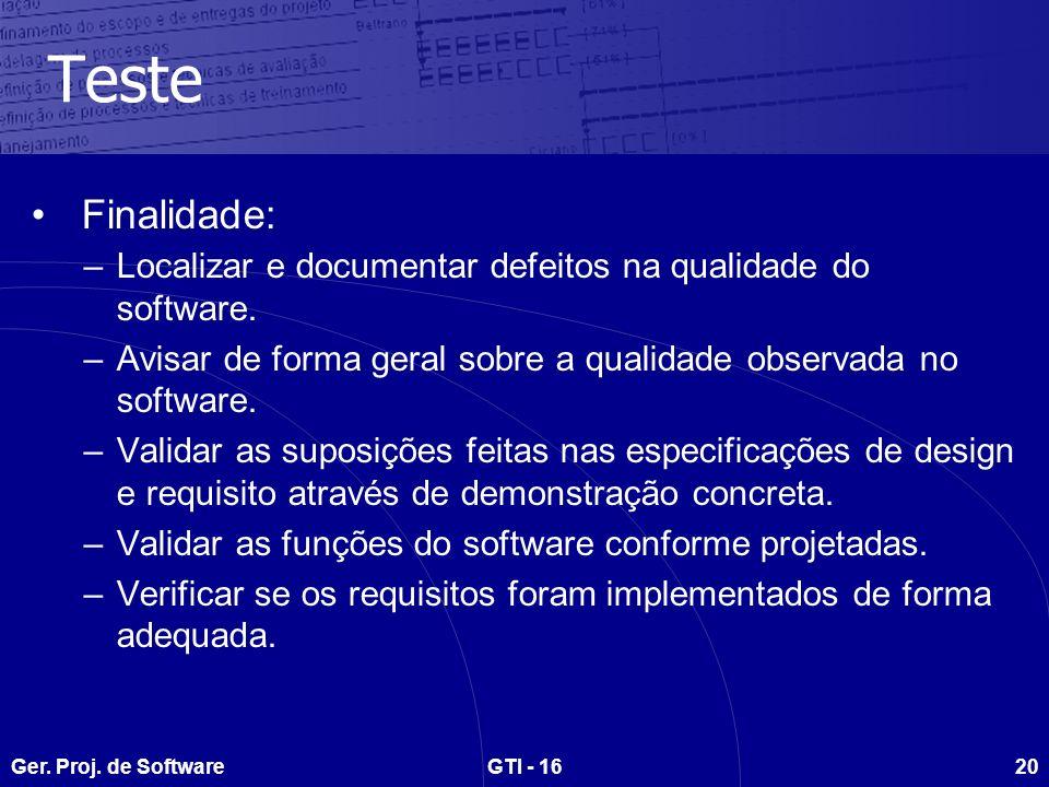 Ger. Proj. de SoftwareGTI - 1620 Teste Finalidade: –Localizar e documentar defeitos na qualidade do software. –Avisar de forma geral sobre a qualidade