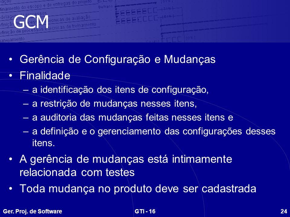 Ger. Proj. de SoftwareGTI - 1624 GCM Gerência de Configuração e Mudanças Finalidade –a identificação dos itens de configuração, –a restrição de mudanç