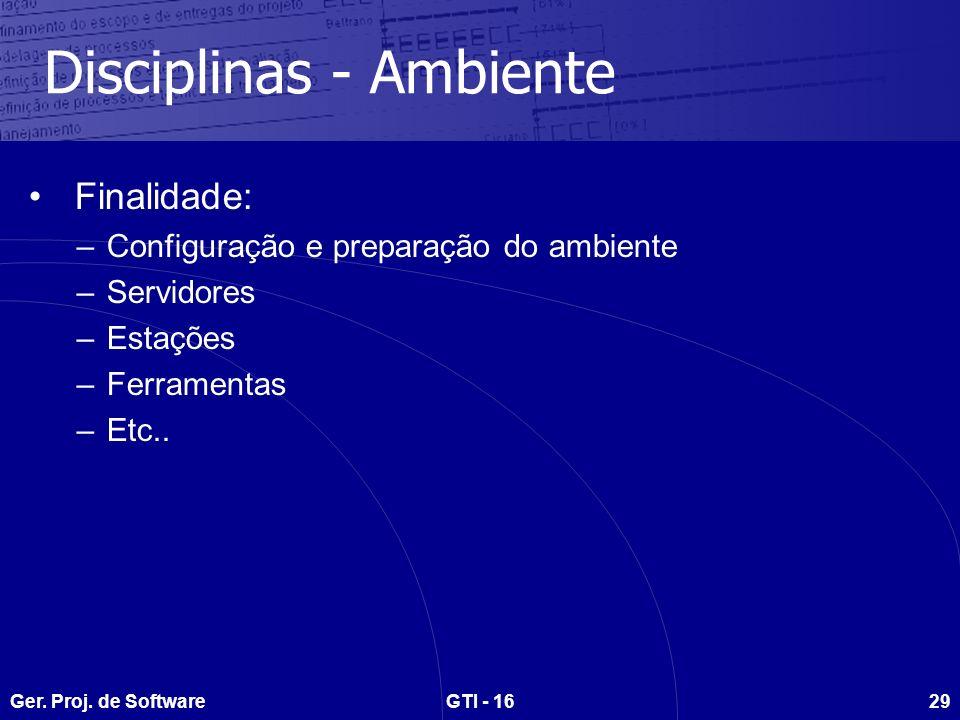 Ger. Proj. de SoftwareGTI - 1629 Disciplinas - Ambiente Finalidade: –Configuração e preparação do ambiente –Servidores –Estações –Ferramentas –Etc..