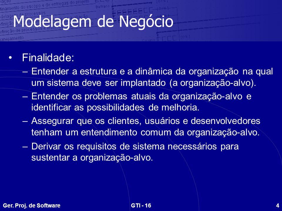 Ger. Proj. de SoftwareGTI - 164 Modelagem de Negócio Finalidade: –Entender a estrutura e a dinâmica da organização na qual um sistema deve ser implant