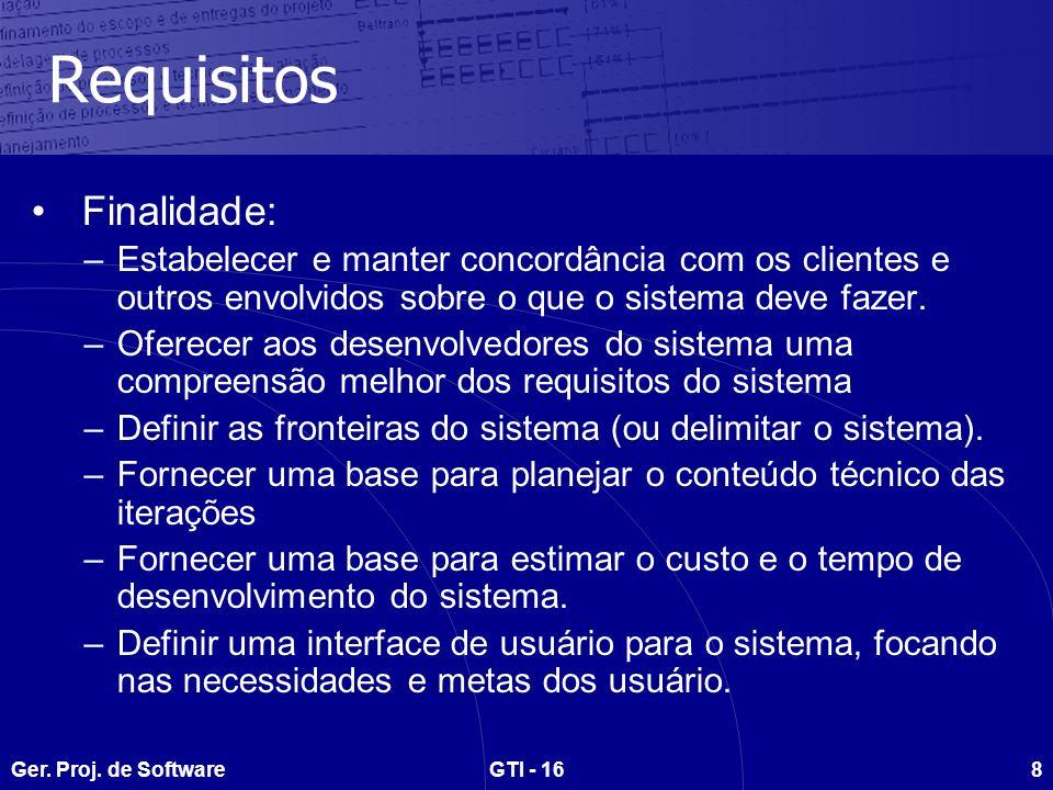 Ger. Proj. de SoftwareGTI - 168 Requisitos Finalidade: –Estabelecer e manter concordância com os clientes e outros envolvidos sobre o que o sistema de
