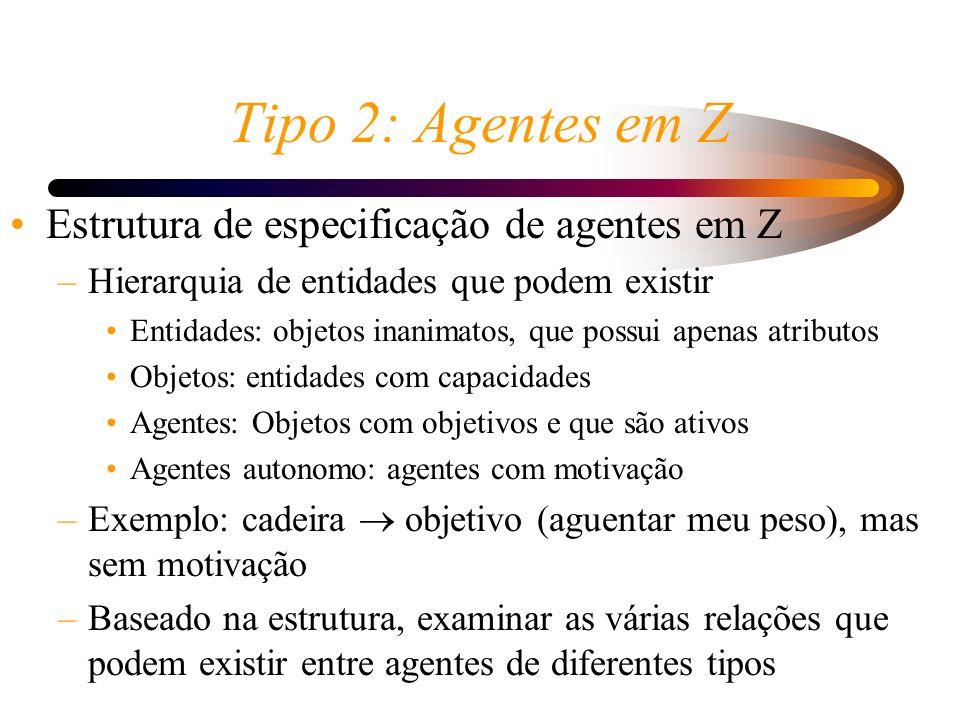 Tipo 2: Agentes em Z Estrutura de especificação de agentes em Z –Hierarquia de entidades que podem existir Entidades: objetos inanimatos, que possui a