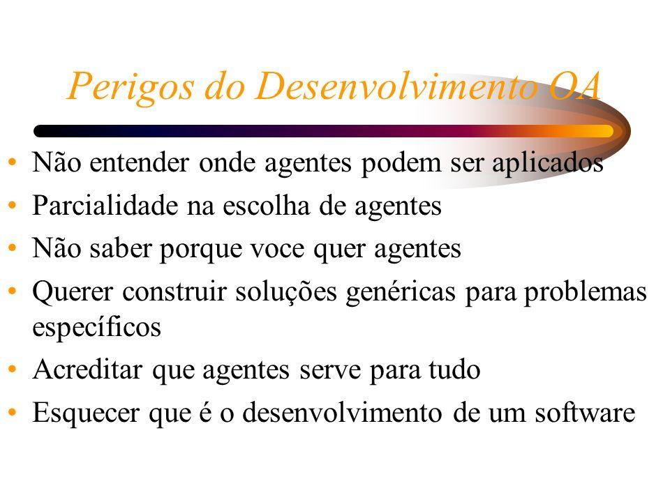 Perigos do Desenvolvimento OA Não entender onde agentes podem ser aplicados Parcialidade na escolha de agentes Não saber porque voce quer agentes Quer