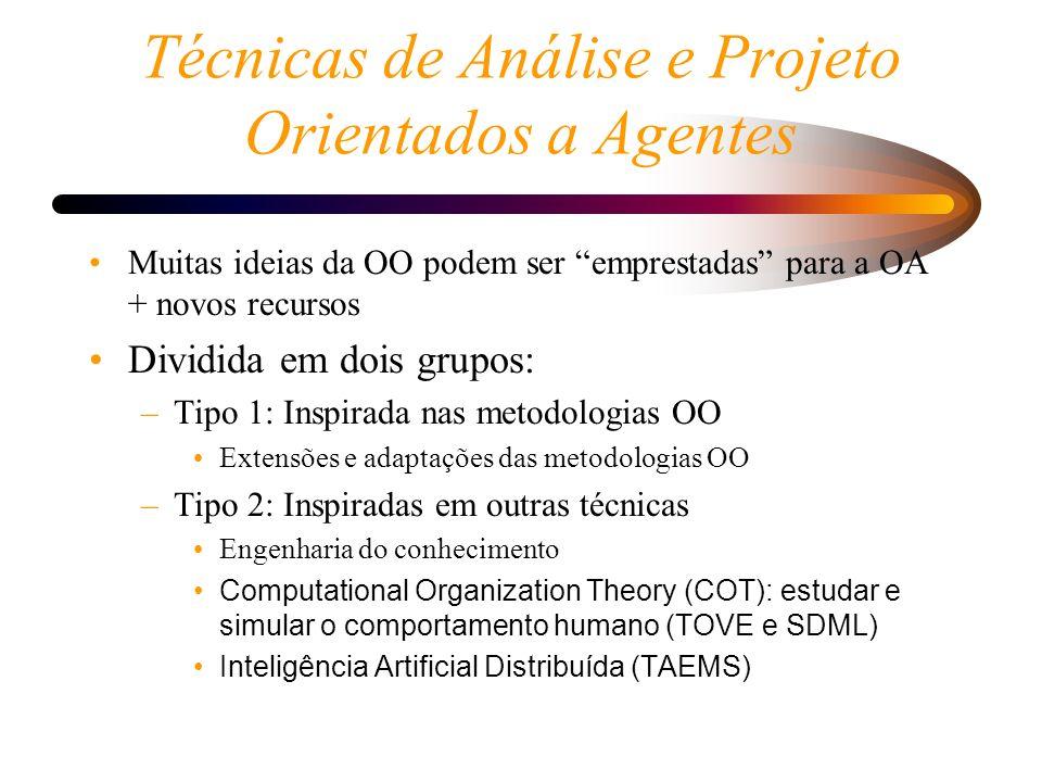 Técnicas de Análise e Projeto Orientados a Agentes Muitas ideias da OO podem ser emprestadas para a OA + novos recursos Dividida em dois grupos: –Tipo