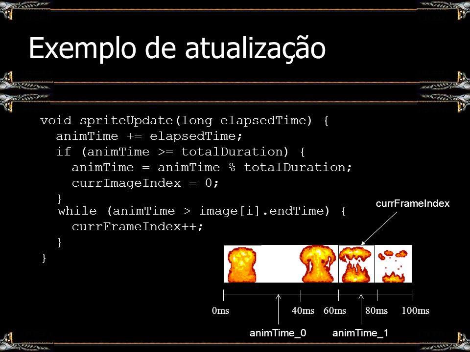 Exemplo de atualização void spriteUpdate(long elapsedTime) { animTime += elapsedTime; if (animTime >= totalDuration) { animTime = animTime % totalDura