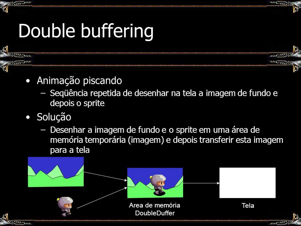 Double buffering Animação piscando –Seqüência repetida de desenhar na tela a imagem de fundo e depois o sprite Solução –Desenhar a imagem de fundo e o