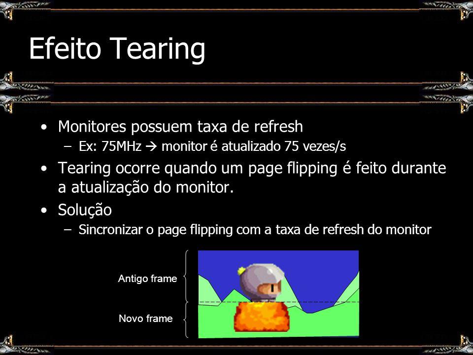 Efeito Tearing Monitores possuem taxa de refresh –Ex: 75MHz monitor é atualizado 75 vezes/s Tearing ocorre quando um page flipping é feito durante a a