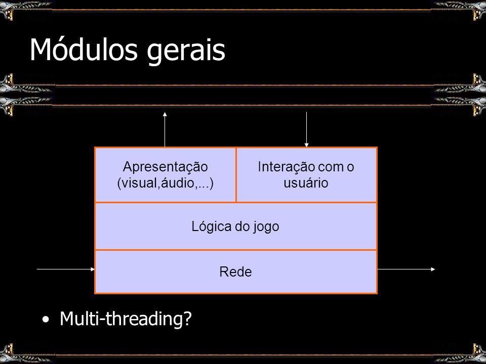 Módulos gerais Apresentação (visual,áudio,...) Lógica do jogo Interação com o usuário Rede Multi-threading?
