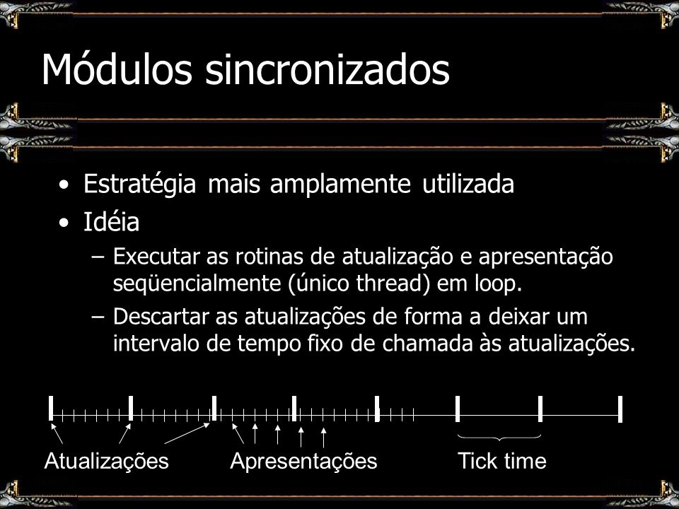 Estratégia mais amplamente utilizada Idéia –Executar as rotinas de atualização e apresentação seqüencialmente (único thread) em loop. –Descartar as at