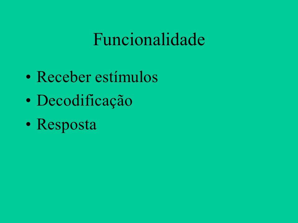 Funcionalidade Receber estímulos Decodificação Resposta