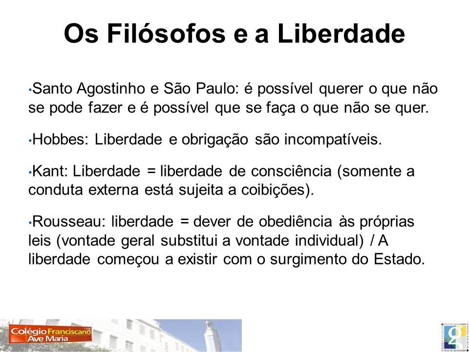 Santo Agostinho e São Paulo: é possível querer o que não se pode fazer e é possível que se faça o que não se quer. Hobbes: Liberdade e obrigação são i
