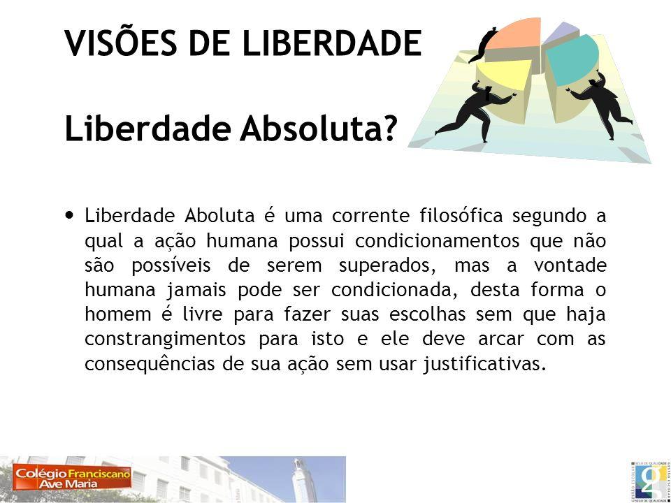 VISÕES DE LIBERDADE Liberdade Absoluta? Liberdade Aboluta é uma corrente filosófica segundo a qual a ação humana possui condicionamentos que não são p