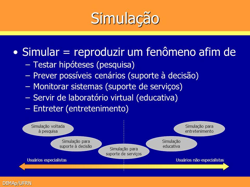 DIMAp/UFRN Simulação Simular = reproduzir um fenômeno afim de –Testar hipóteses (pesquisa) –Prever possíveis cenários (suporte à decisão) –Monitorar s