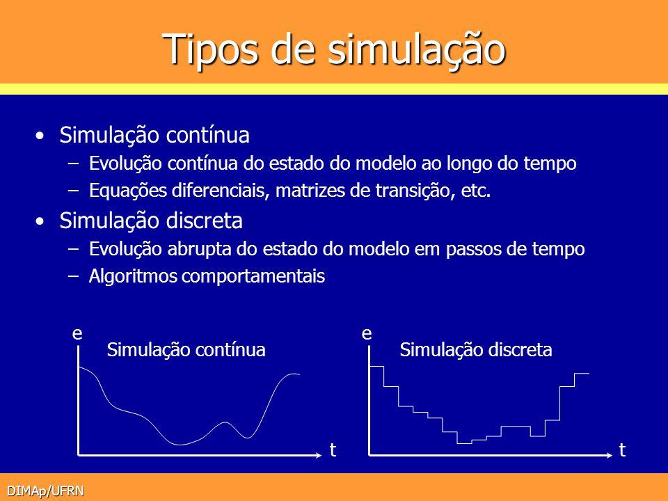 DIMAp/UFRN Tipos de simulação Simulação contínua –Evolução contínua do estado do modelo ao longo do tempo –Equações diferenciais, matrizes de transiçã