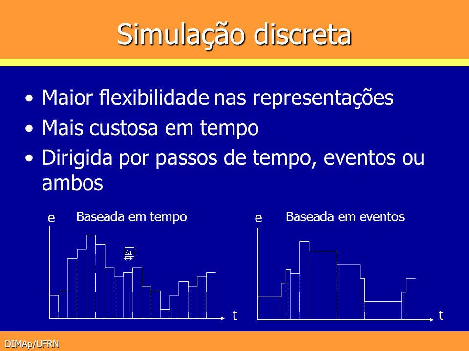 DIMAp/UFRN Simulação discreta Maior flexibilidade nas representações Mais custosa em tempo Dirigida por passos de tempo, eventos ou ambos t Baseada em