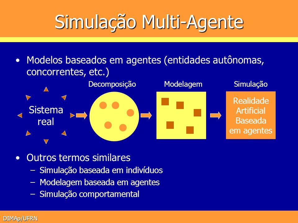 DIMAp/UFRN Simulação Multi-Agente Modelos baseados em agentes (entidades autônomas, concorrentes, etc.) Outros termos similares –Simulação baseada em