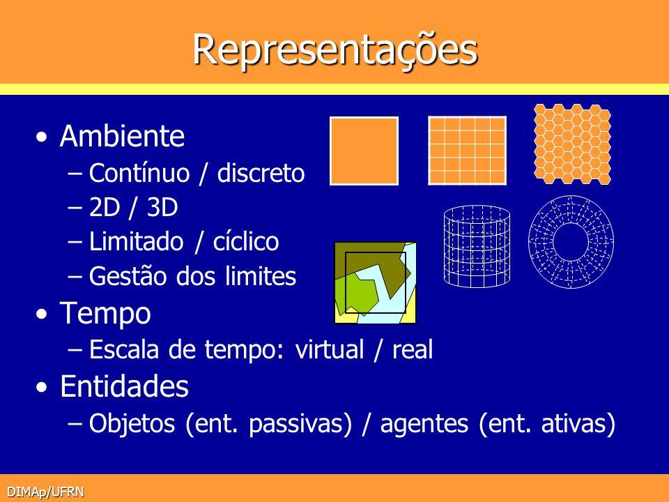 DIMAp/UFRN Representações Ambiente –Contínuo / discreto –2D / 3D –Limitado / cíclico –Gestão dos limites Tempo –Escala de tempo: virtual / real Entida