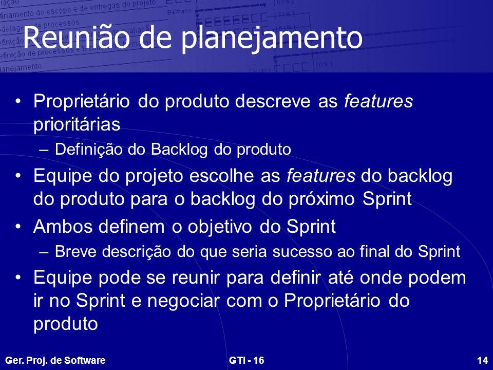 Ger. Proj. de SoftwareGTI - 1614 Reunião de planejamento Proprietário do produto descreve as features prioritárias –Definição do Backlog do produto Eq