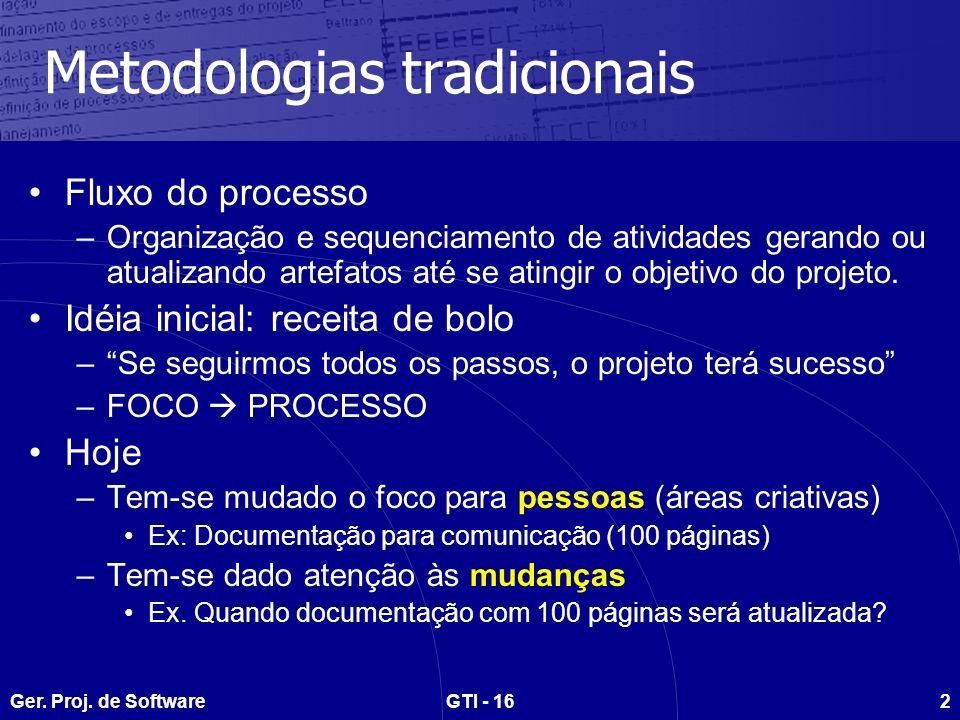 Ger. Proj. de SoftwareGTI - 162 Metodologias tradicionais Fluxo do processo –Organização e sequenciamento de atividades gerando ou atualizando artefat