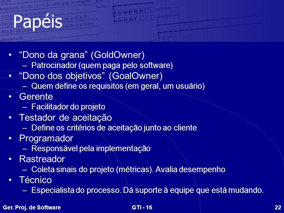 Ger. Proj. de SoftwareGTI - 1622 Papéis Dono da grana (GoldOwner) –Patrocinador (quem paga pelo software) Dono dos objetivos (GoalOwner) –Quem define