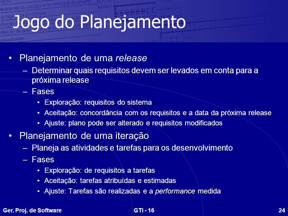 Ger. Proj. de SoftwareGTI - 1624 Jogo do Planejamento Planejamento de uma release –Determinar quais requisitos devem ser levados em conta para a próxi