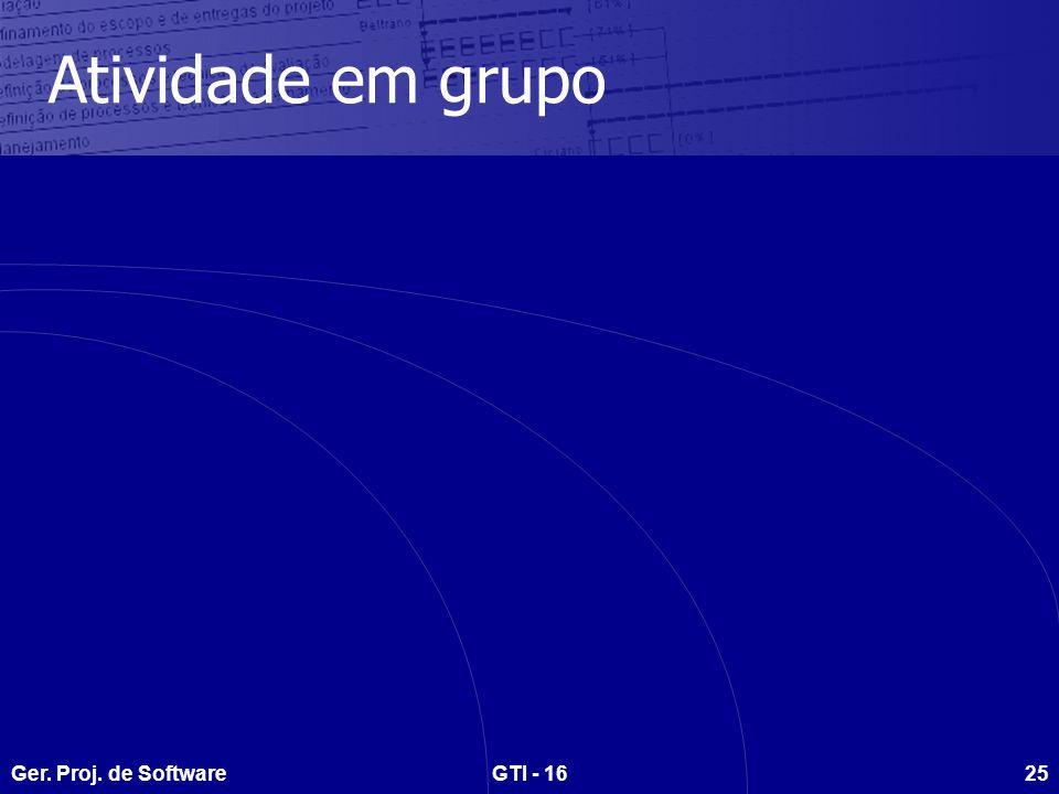 Ger. Proj. de SoftwareGTI - 1625 Atividade em grupo