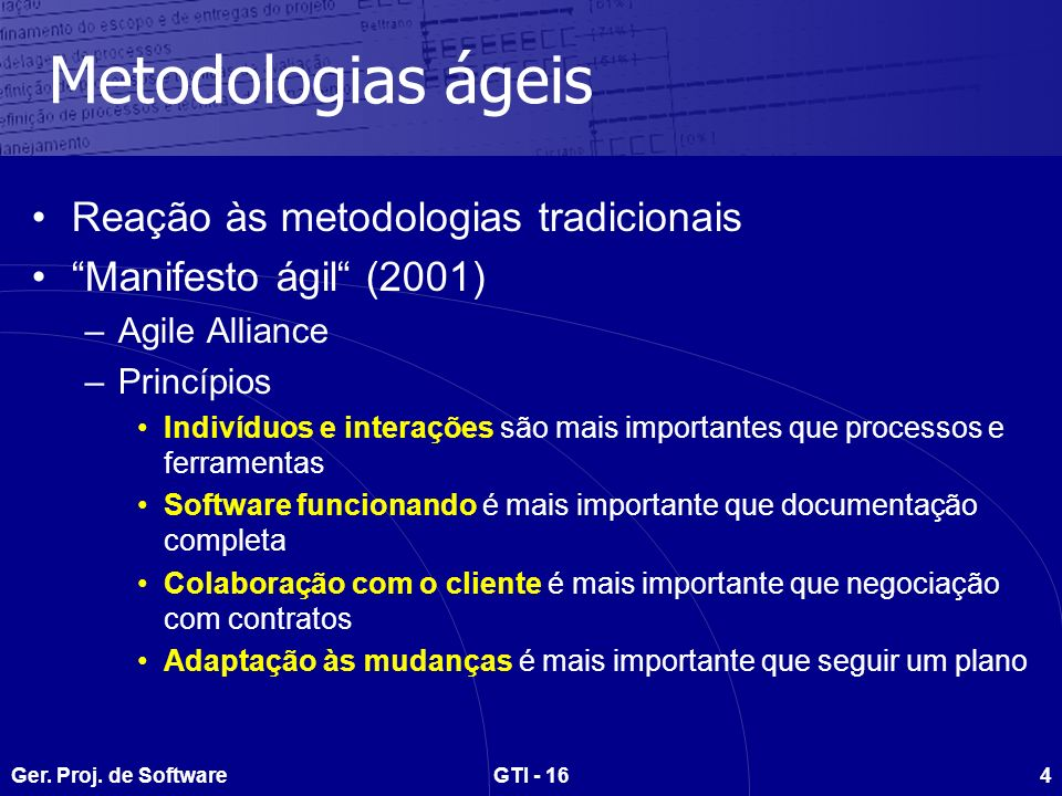 Ger. Proj. de SoftwareGTI - 164 Metodologias ágeis Reação às metodologias tradicionais Manifesto ágil (2001) –Agile Alliance –Princípios Indivíduos e