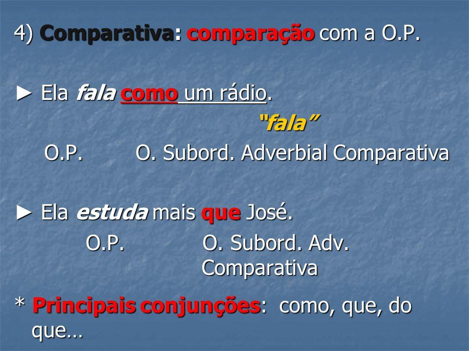 4) Comparativa: comparação com a O.P.Ela fala como um rádio.