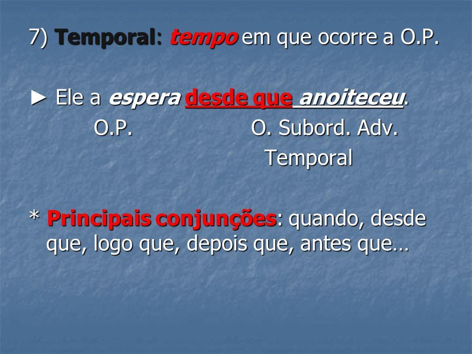 7) Temporal: tempo em que ocorre a O.P.Ele a espera desde que anoiteceu.
