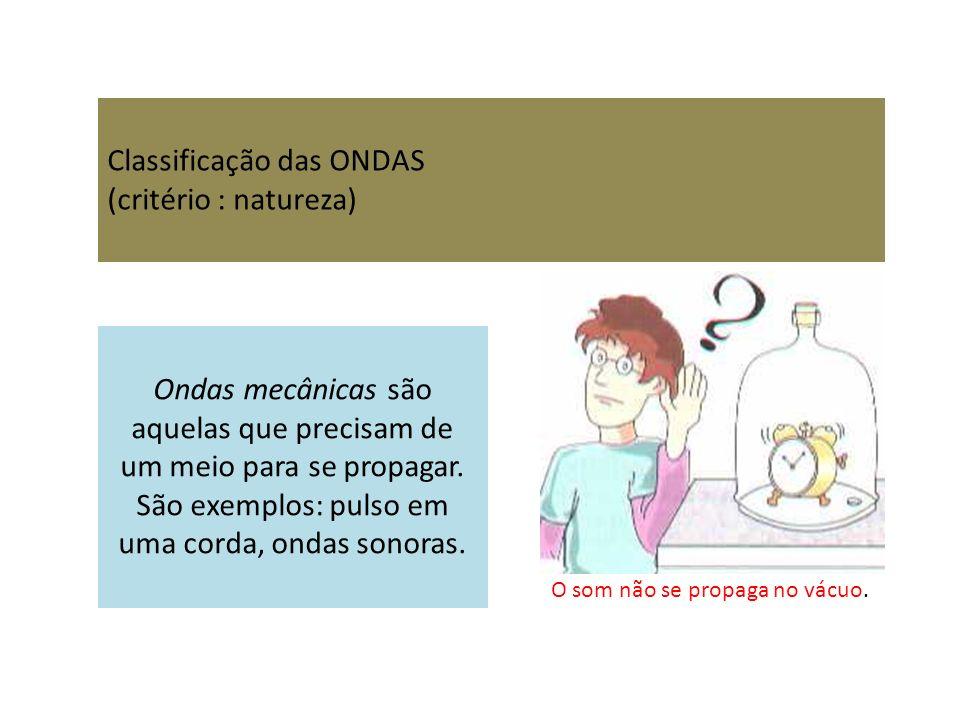 Classificação das ONDAS (critério : natureza) Ondas mecânicas são aquelas que precisam de um meio para se propagar. São exemplos: pulso em uma corda,