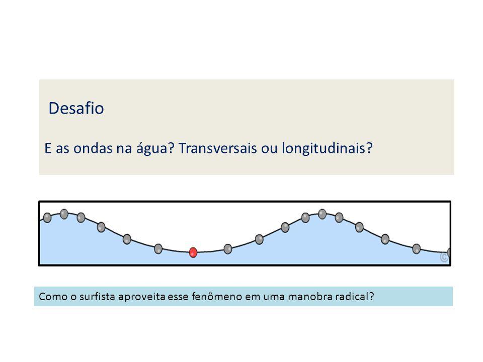 Desafio E as ondas na água? Transversais ou longitudinais? Como o surfista aproveita esse fenômeno em uma manobra radical?